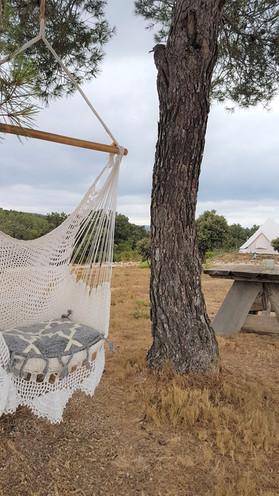 hammock at glamping tent