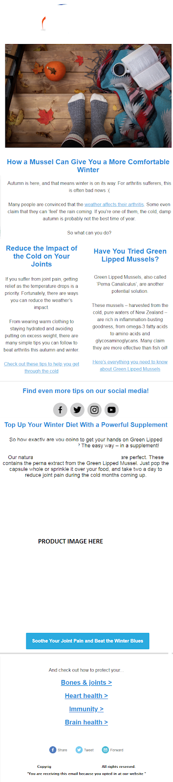 An example of the email newsletters we sent out