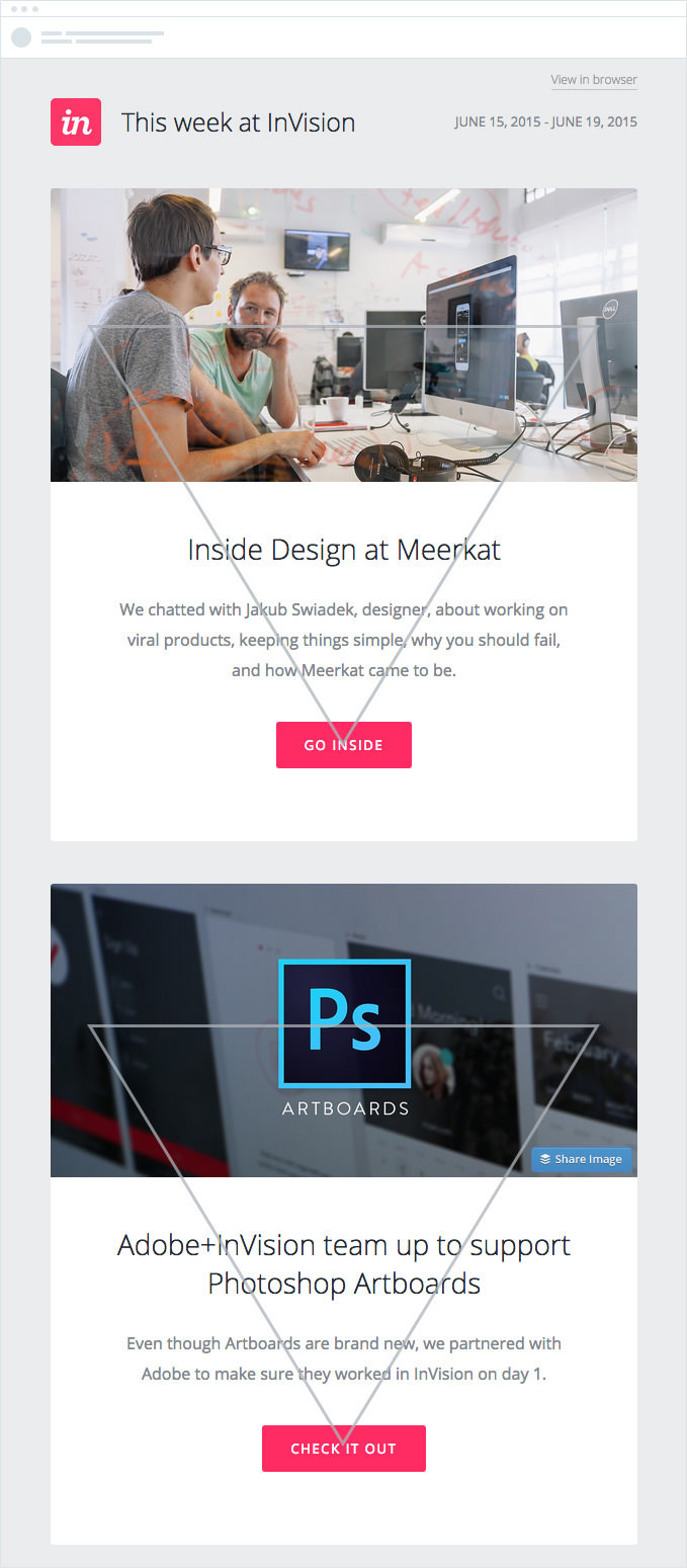 Email design example for inverted pyramid