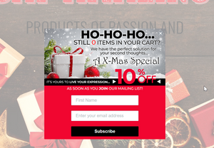 10% off exit-intent popup on an ecommerce website