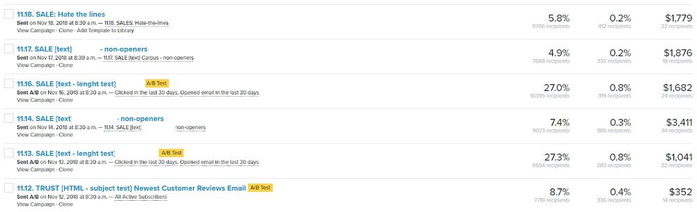 Results of Klaviyo email marketing campaigns