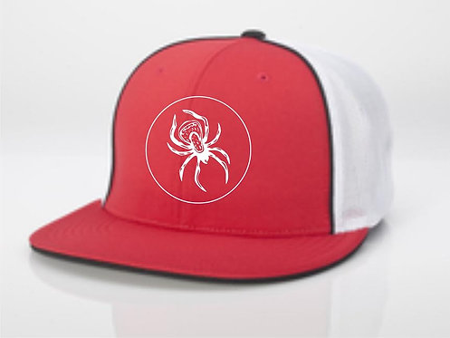 FlexFit Flat Bill Mesh w/ Piping Hat - Red/White