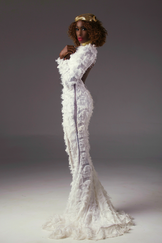 Liz Ogumbo Peep-Back, Front-Slit Fluff gown