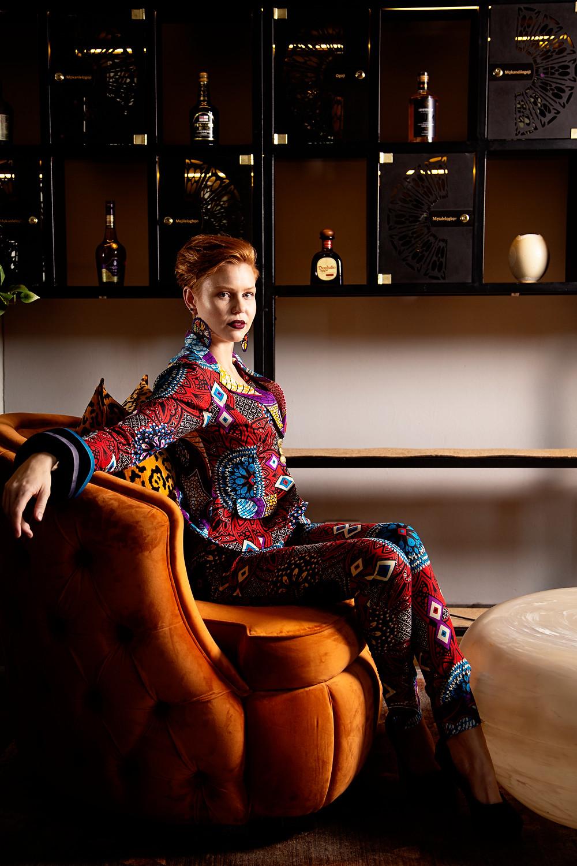 Model: Danica Bezuidenhout, | Make-up: Zakkiya Bham | Epicure Restaurant Cigar Lounge |  Liz Ogumbo Pant Suit
