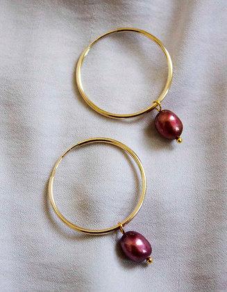 Sansa in Auburn Hoop Earrings