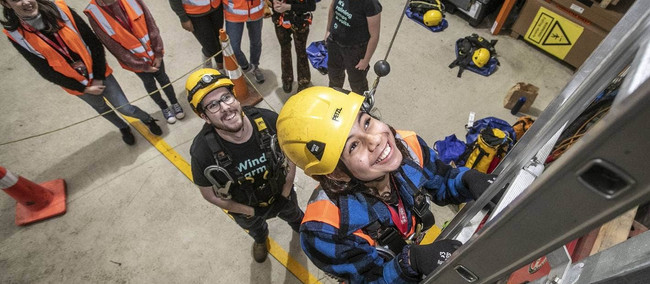 Young women climb ladders to get a leg-up into potential career in infrastructure