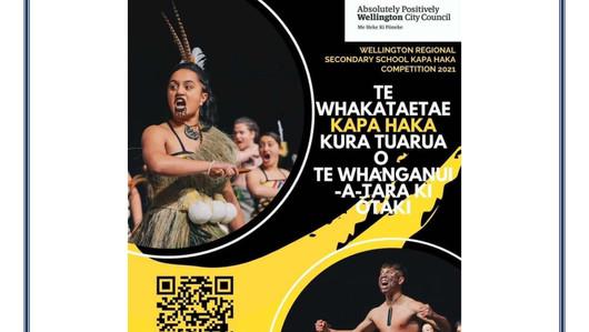 Wellington Regional Secondary School Kapa Haka Competition 2021 - 5th July, TSB Arena from 8.30am