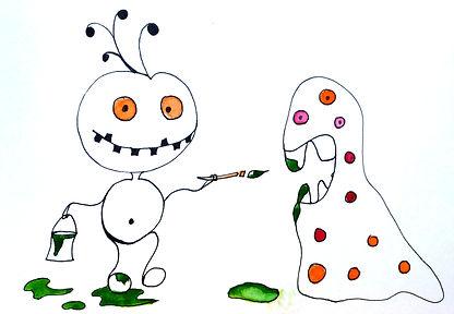 Dessin stylo et aquarelle réalisé pour les stages vacances enfants à l'atelier de Mo