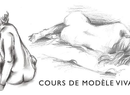 Cours de Modèle vivant, le lundi 18h-20h.