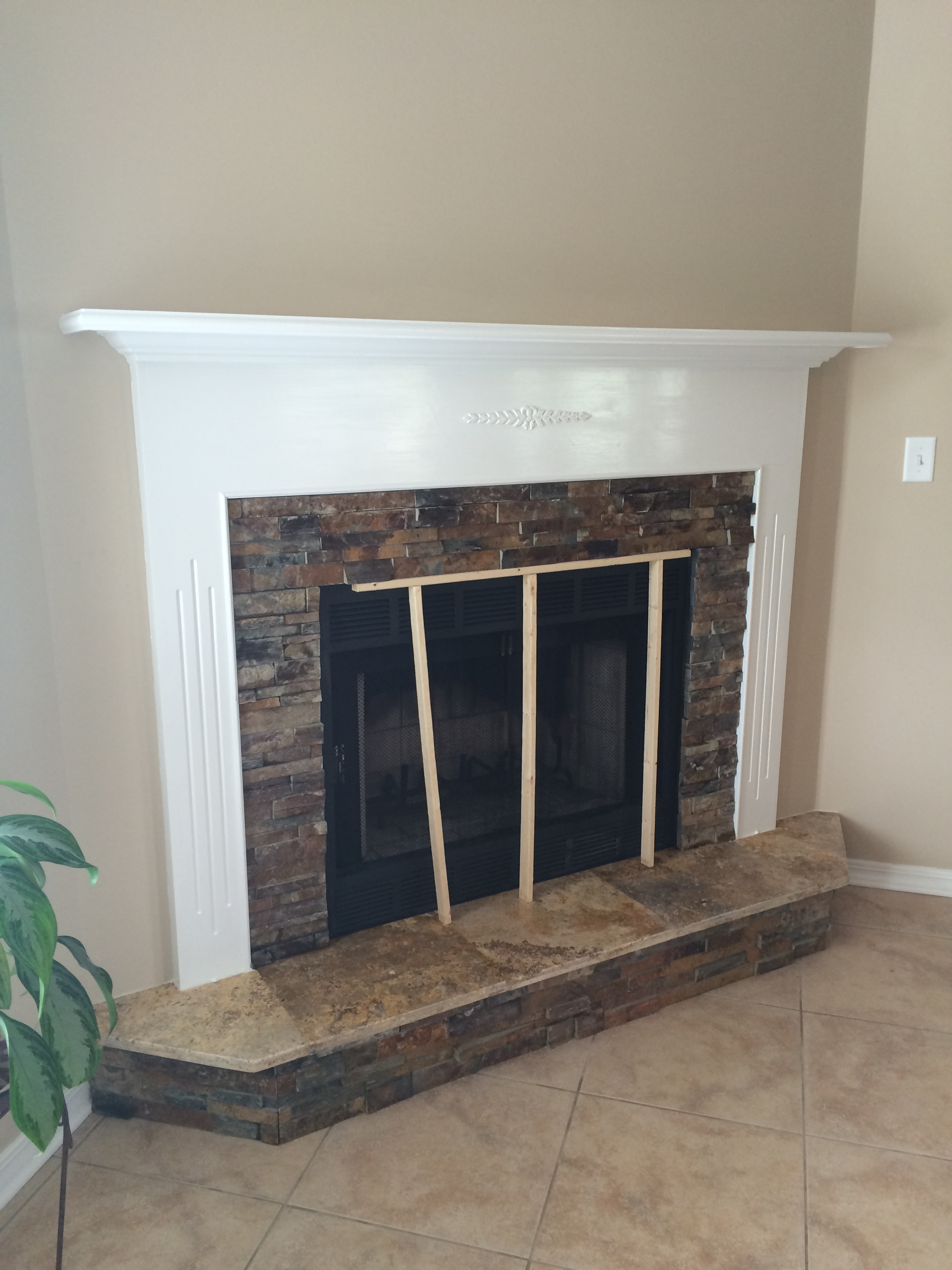 Fireplace Slate and Traverine