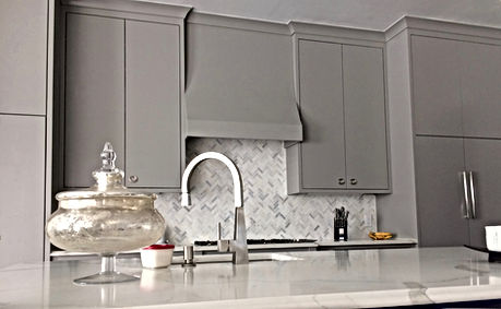 Calacutta Quartz w/ Herringbone Carrara splash