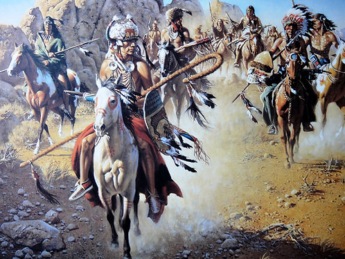 """""""On the Old North Trail 3""""a Tryptych by Frank McCarthy LE Print"""