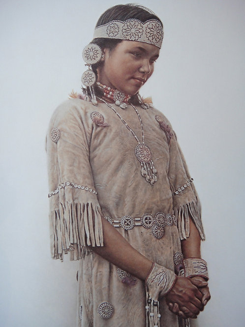 """""""Little Fawn, Cree Girl"""" #28 by James Bama, LE Print"""
