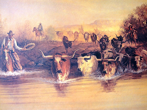 """""""Texas - From HIde and Horn"""" by G Harvey, LE Print"""