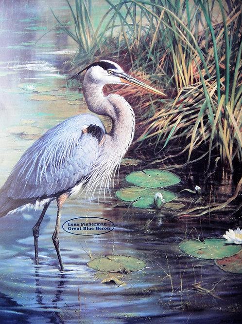 """Lone Fisherman - Great Blue Heron"" Poster by John Seerey-Lester"