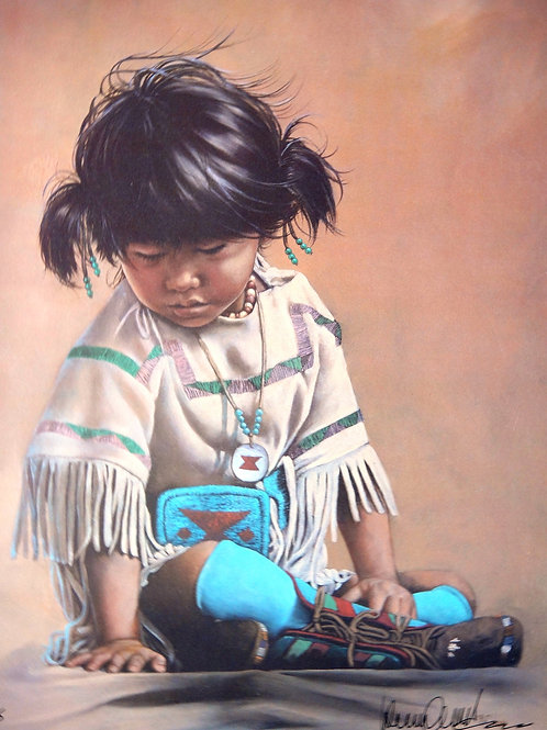 """""""Whistling Water Can Girl; Crow Indian"""" by Penni Anne Cross, LE Print"""