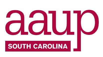 Red and white logo reading aaup South Carolina