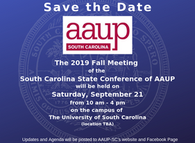 Date Set for AAUP-SC 2019 Fall Meeting