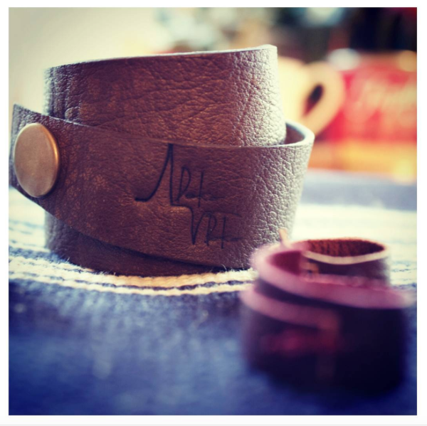 Leather cuff with leather rings