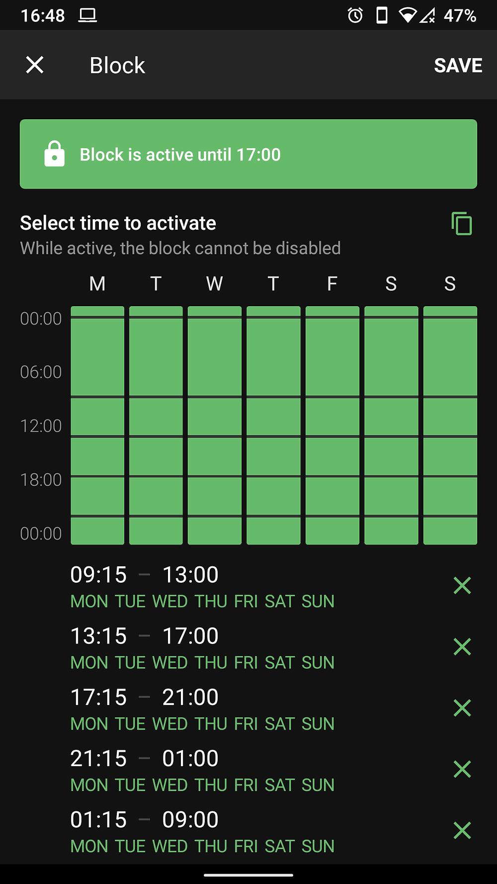 Block App for Android screenshot