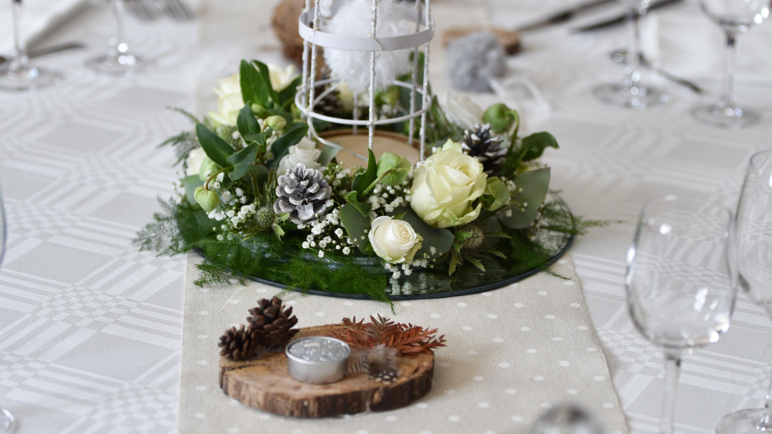 Ma décoration de table avec l'ajout de couronne de fleurs