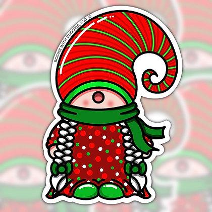 Girl Christmas Gnome Sticker