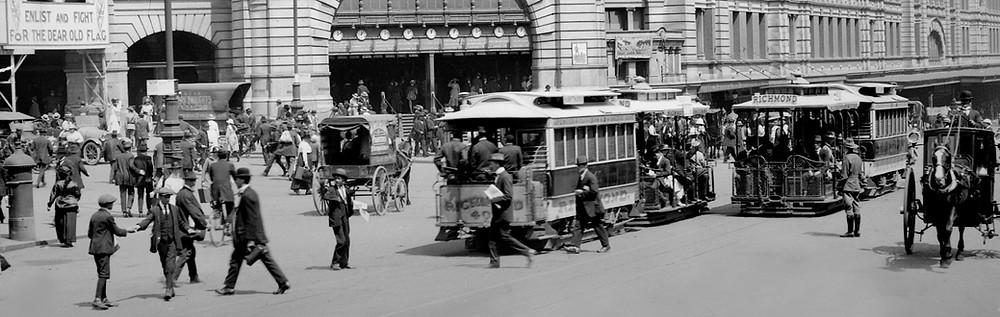 Flinders Street Melbourne 1915