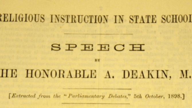 Deakin's Bill to teach Religion in State Schools. 16