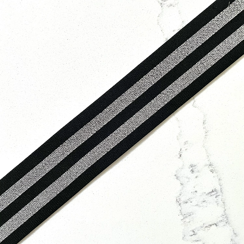 BLACK & SILVER STRIPED 2IN POLYESTER ELASTIC