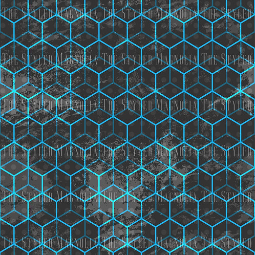 REMNANT: 51IN COTTON LYCRA (180GSM) - GEO CUBES