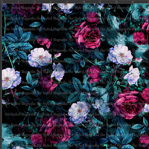 REMNANT: 51IN COTTON LYCRA (260GSM) - MIDNIGHT ROSE