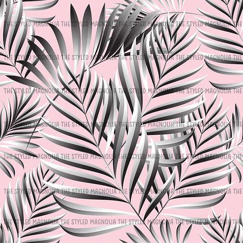 PICK-A-PRINT: GRAY PALMS ON PINK