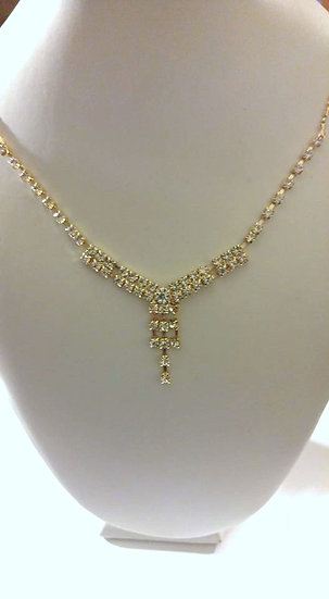 Rhinestone Necklace and Stud Earring Set