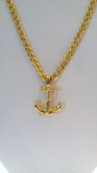 Gold Stainless Steel Anchor Necklace