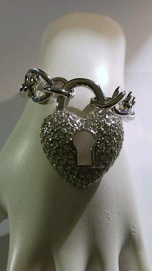 Lockable Heart Silver Bracelet