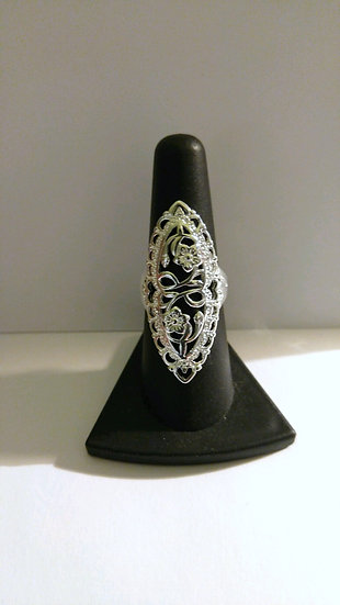 Floral Genuine Sterling Silver Ring