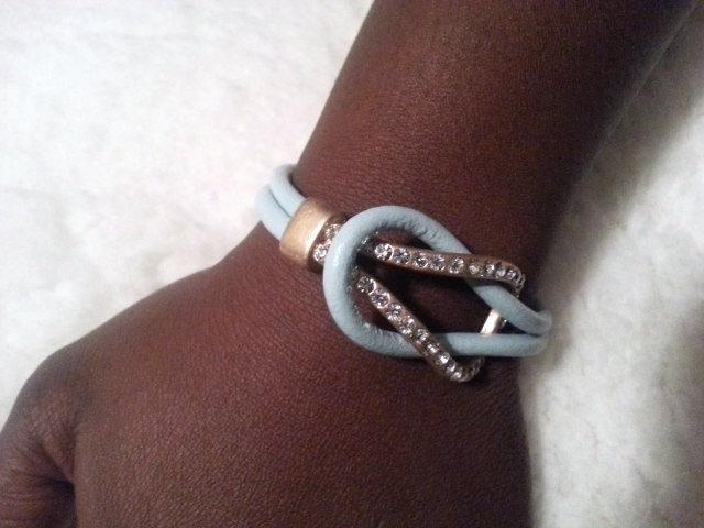Aqua and Diamond Accent Bracelet
