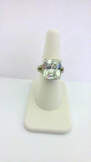Square Cut CZ & Silver Fashion Ring
