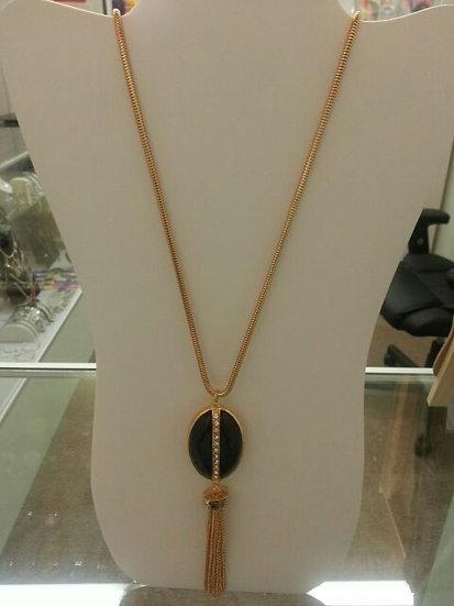 Long Gold & Black Oval Center Necklace