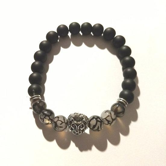 Charcoal & Gray Lion Stretch Bracelet