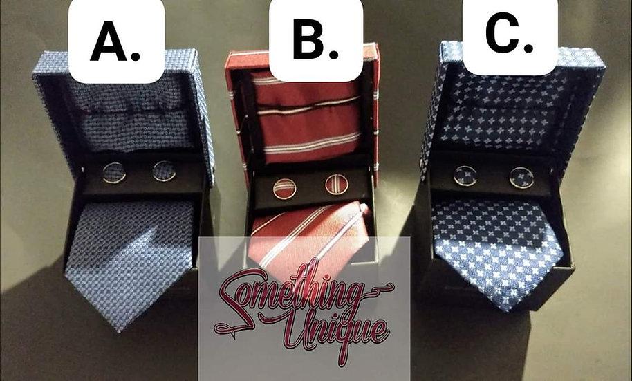 3pc Handkerchief, Tie & Cufflinks Sets