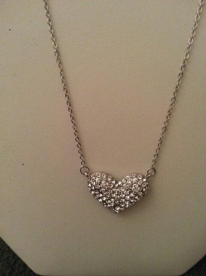 Silver Diamond Heart Necklace