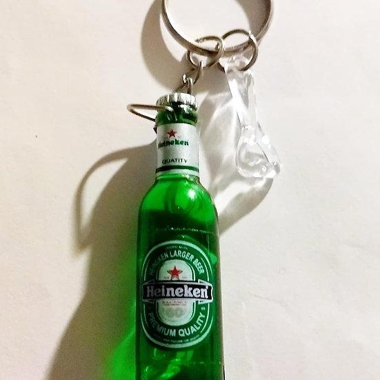 Mini Heinekein Bottle w/Bootle Opener Keychain