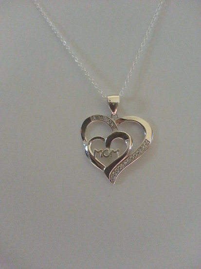 Genuine Sterling Silver Mom Heart Necklace