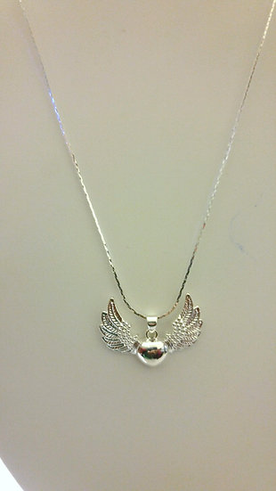 Sterling Silver Heart Winged Pendant Necklace