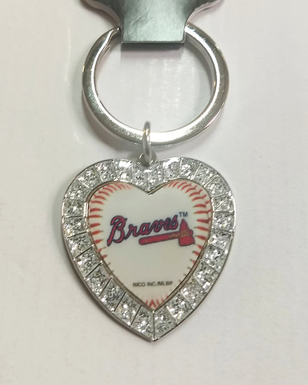 Heart Shaped Atlanta Braves Keychain