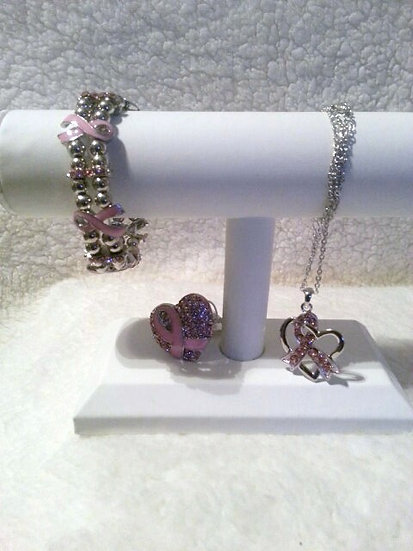 Breast Cancer Awareness Silver Necklace