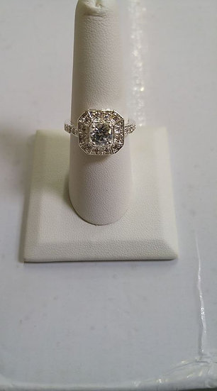 Sterling Silver CZ Square Ring