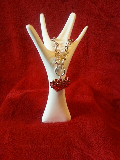 Ruby Heart Silver Bracelet