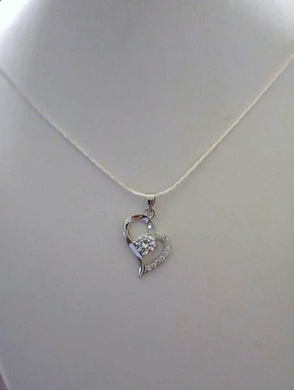 Sterling Silver Heart Necklace with Rhinestone